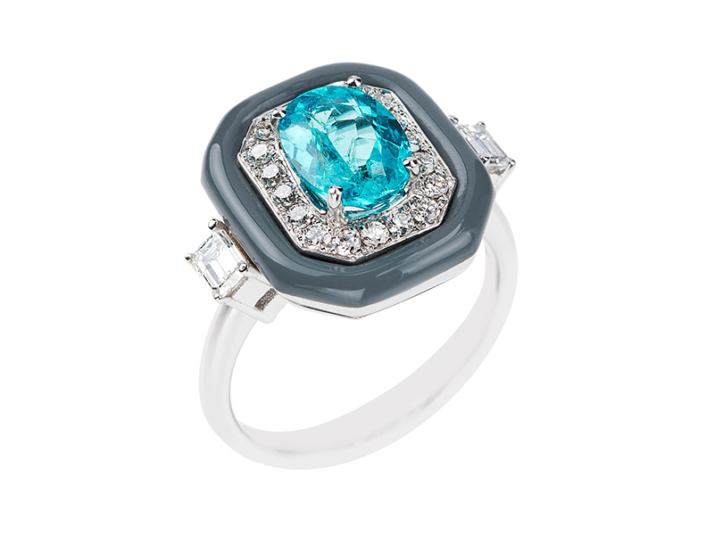Nikos Koulis From Oui collection - White diamonds, paraiba and grey enamel frame