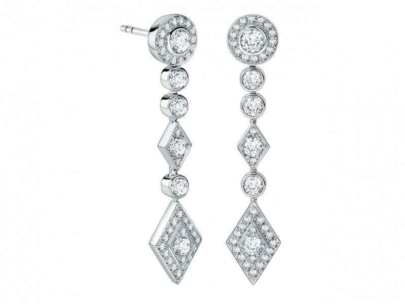 Garrard A pair of 18ct white gold earrings from the Twenty Four collection set with round white diamonds.