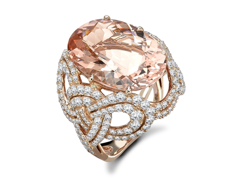 Garrard An 18ct rose gold cocktail ring from the Entanglement collection set with a central morganite surrounded by round white diamonds.