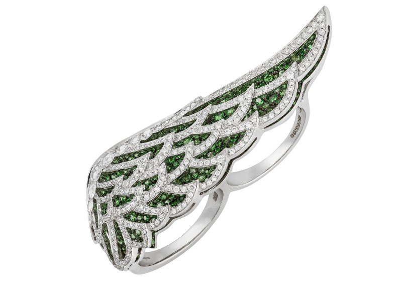 Garrard From Wings Lace collection, a white gold ring set with tsavorites and diamonds