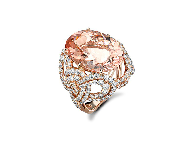 Garrard From Entanglement collection, a rose gold ring set with a morganite and white diamonds