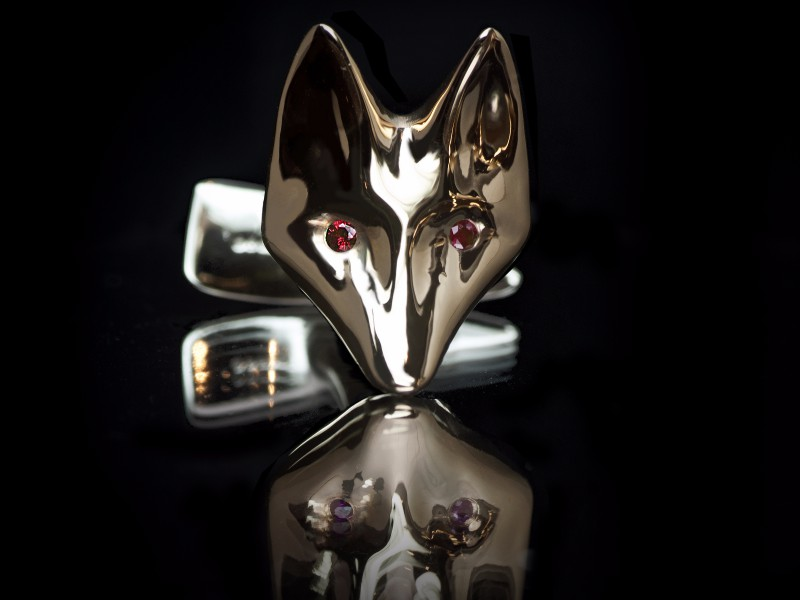 Guy & Max 3D printed jewelry ring yellow gold fox