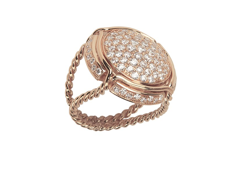 Virginie Carpentier Champagne ring mounted on rose gold with 87 white diamonds ~ 5'590 Euros