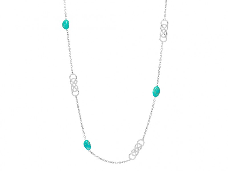 Infinity by Victoria Double infinity long necklace mounted on silver with turquoise, can be ordered at the Pop Up, ~ CHF 390