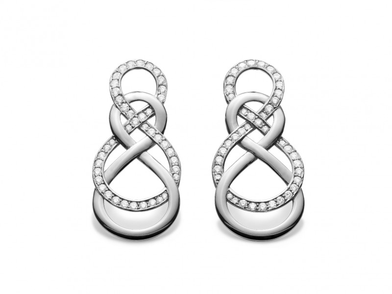Infinity by Victoria Silver infinity earrings setted with cubic Zirconia, can be ordered at the Pop Up, ~ CHF 360