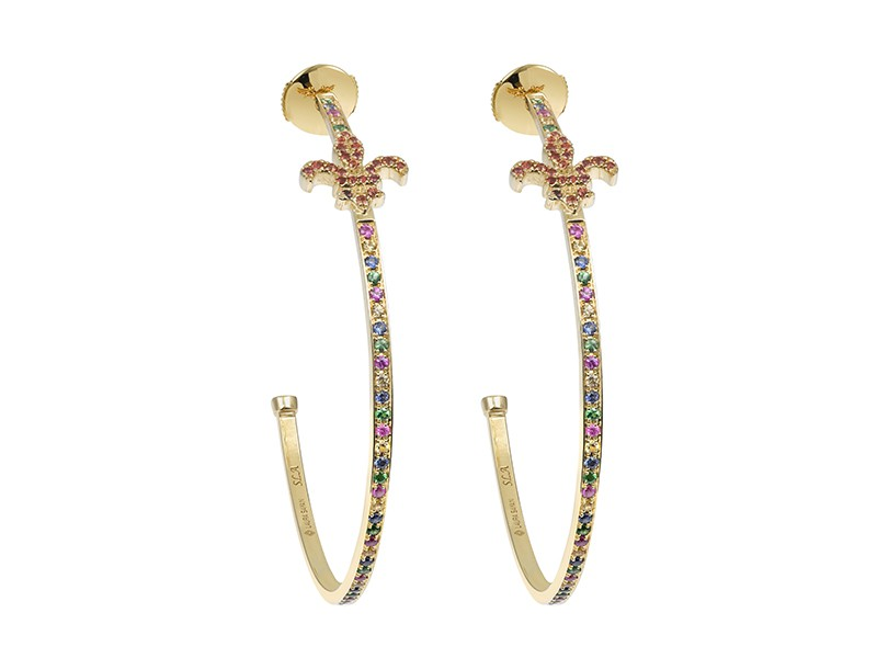 Laura Sayan Créoles Fleur de Lys mounted on yellow gold with tsavorites, rose, yellow, blue, orange sapphires and rubies. These earrings are available at the Pop Up, CHF 3'920