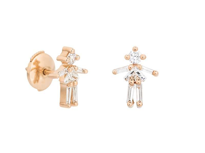 Little Ones Paris - Puces d'oreille en diamant et or rose