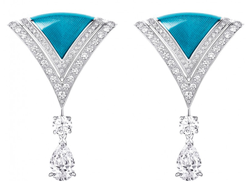 Louis Vuitton Acte V The escape collection excelsior earrings grand feu enamel diamonds white gold