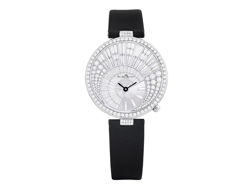 Van der Bauwede Diamond Rain Collection - White Gold Case set with 9.35 carats of diamonds and a mother of pearl dial. CHF 67'000.-