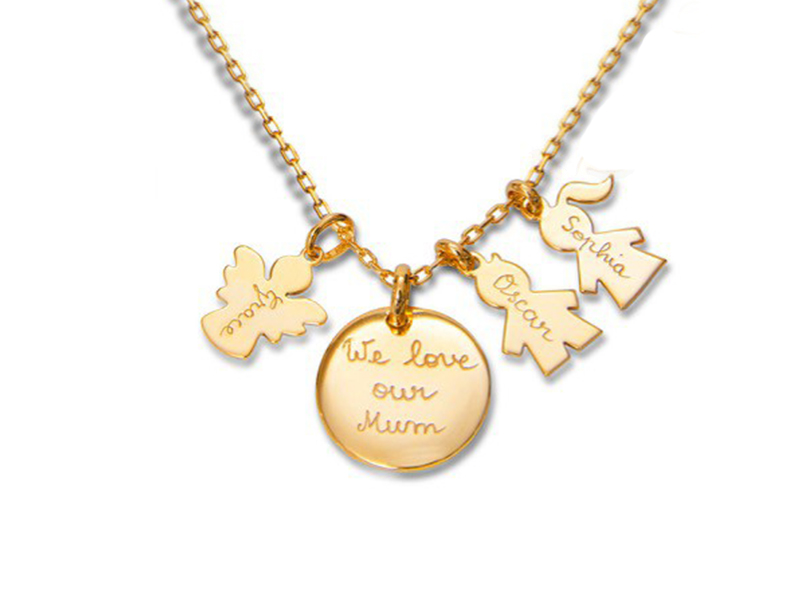 Merci Maman Personalised family necklace mounted on 18k gold plated, ~ GBP£ 89