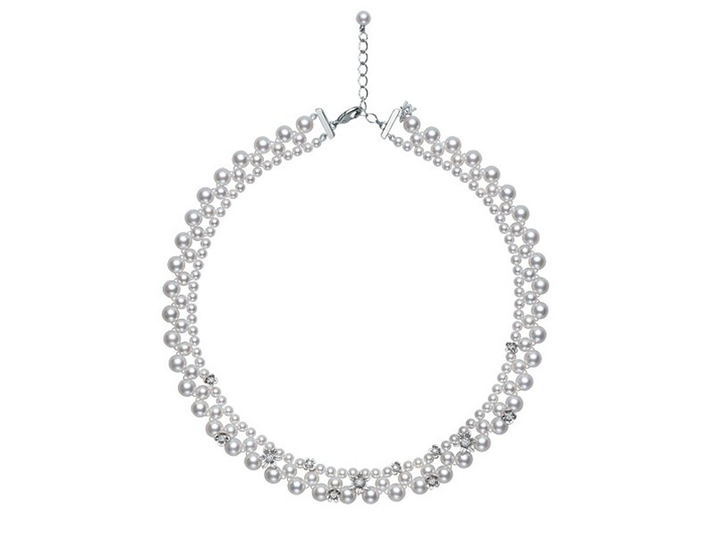 Mikimoto Flower lace mounted on white gold with akoya pearls