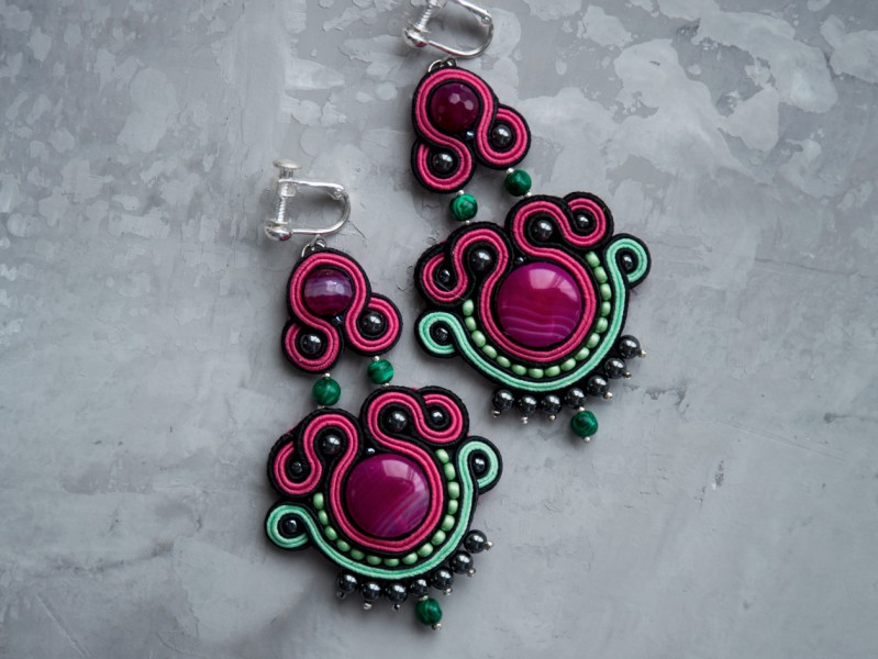 Nowness Dangle earrings with fuchsia agate, hematite and malachite are available at the Pop Up, ~ CHF 181