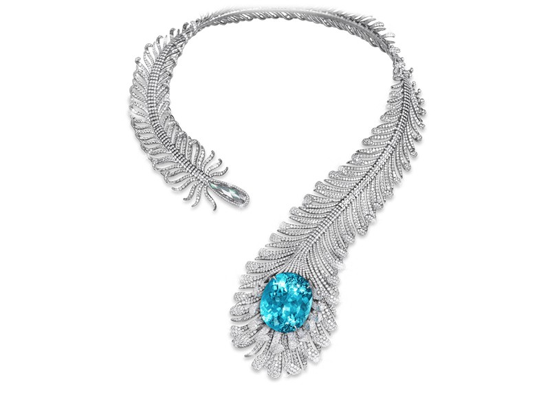 Moussaieff Paraïba and diamond feather necklace