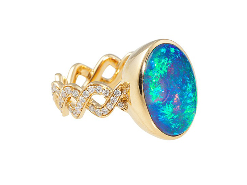 Katherine Jetter From Classic collection - Twisting Vine Ring set in yellow gold with a lightning ridge opal bezel and diamonds