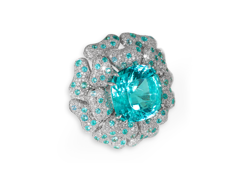 David Morris Natural mozambique paraïba tourmaline cushion-cut & diamonds 'Reef' cocktail ring