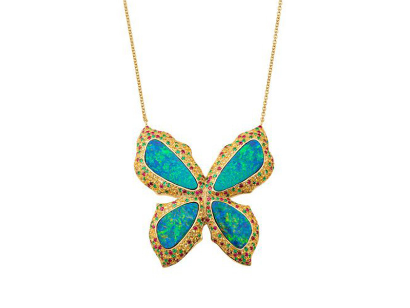 Sara Weinstock Opal butterfly necklace with emeralds, rubies and yellow sapphires