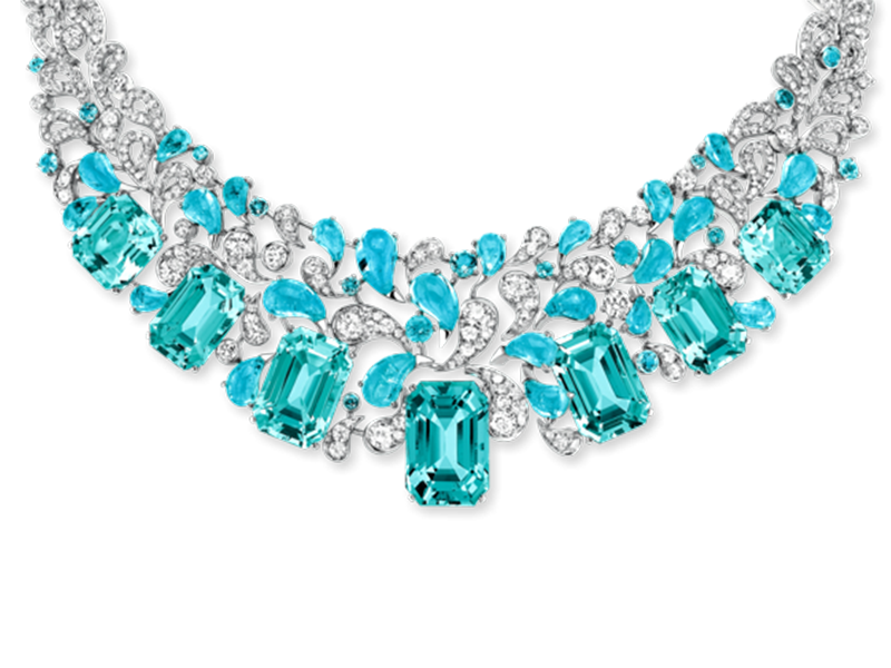 "Chaumet Lumières d'eau ""An island in the trade winds"" necklace - White gold set with diamonds, cabochon-cut paraïba tourmalines and seven emerald-cut aquamarines"