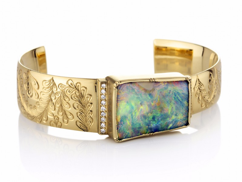 Brooke Gregson Palomino engraved boulder opal halo cuff mounted on yellow gold