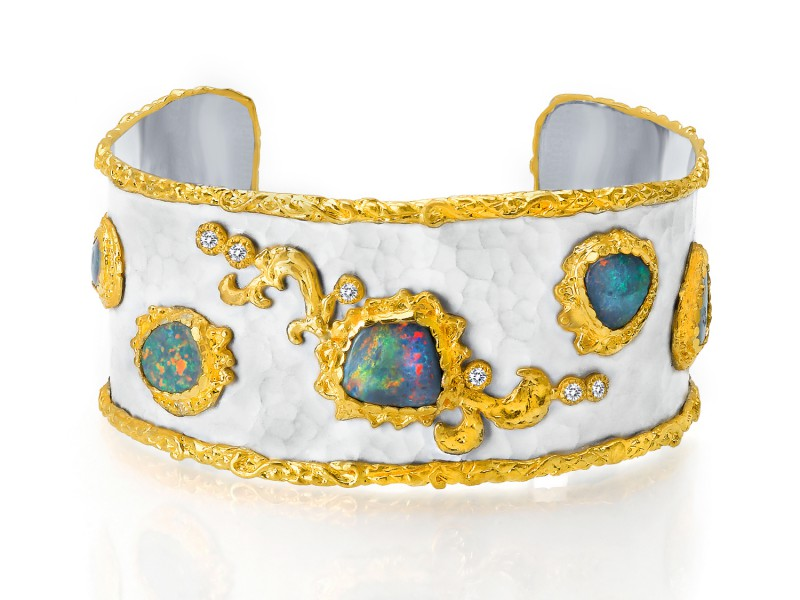 Victor Velyan Bracelet with Black Opals 5ct & Diamonds 0.11ct, 24K gold & Silver,in Antique White Patina