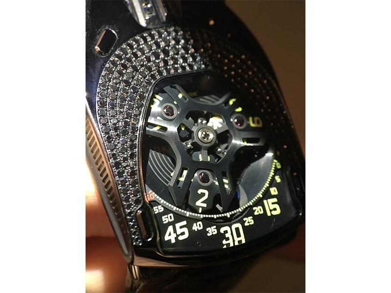 black version of the Urwerk 106- Lotus watch