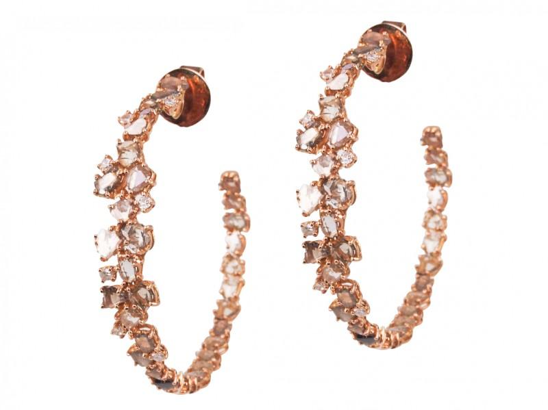 Plukka hoop earrings orange diamonds rose gold