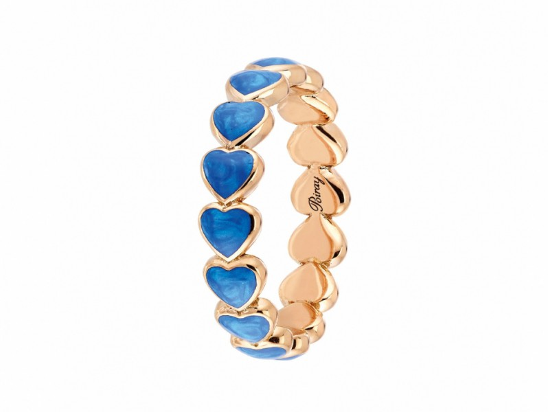 Poiray Coeur Perlé Ring set on rose gold with blue enamel heart shapes. AVAILABLE AT THE EYE OF JEWELRY POP UP STORE IN GENEVA - 1'375 CHF