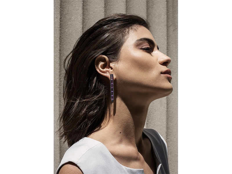 Ralph Masri From Sacred Windows collection - Earrings mounted on black rhodium-plated gold with sapphires and amethysts