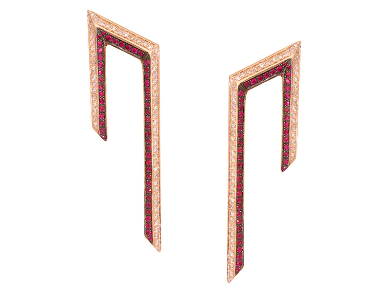 Ralph Masri From Phoenician Script collection - Earrings mounted on rose gold with pink diamonds and rubies