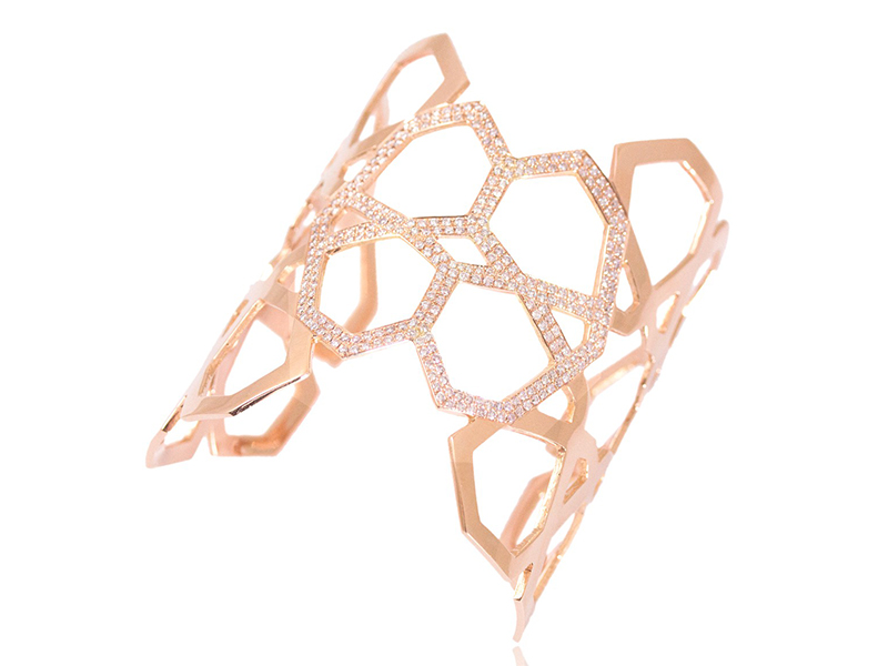 Ralph Masri From Arabesque Deco collection - Cuff mounted on rose gold with pink diamonds