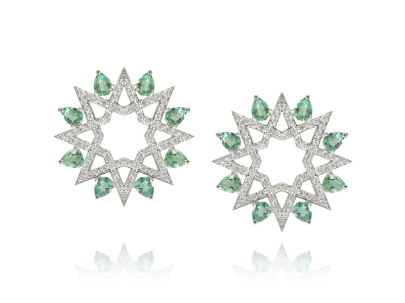 Ralph Masri From Arabesque Deco collection - Earrings mounted on white gold with diamonds and brasilites