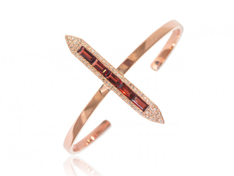 Ralph Masri From Sacred Windows collection - Cuff mounted on rose gold with champagne diamonds and garnets