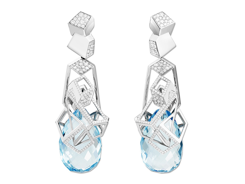 Mikado Lagon Earrings Aquamarine White Diamonds Lorenz Bäumer