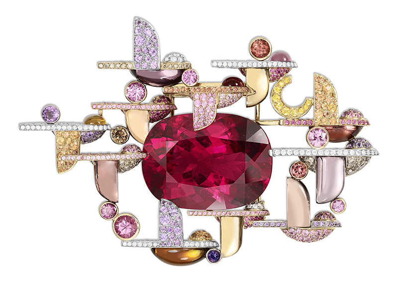 Lorenz Bäumer Envol Brooch Amethysts, Chocolate Diamonds, Citrines, Orange Sapphires, Pink Sapphires, Pink Tourmalines, Purple Sapphires, Smocky Quartz, White Diamonds, Yellow Sapphires White Gold, Yellow Gold