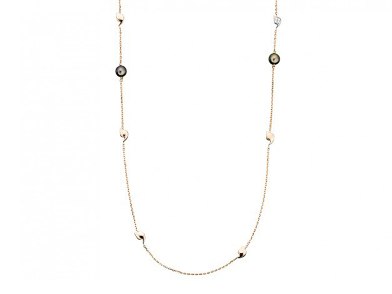 Rivka Nahmias Sautoir Y-Talisman, Précieux mounted on yellow gold with tahitian pearls