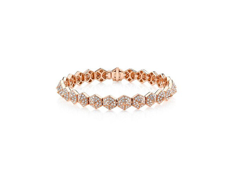 Anita Ko Six-sided diamond spike bracelet mounted on rose gold ~ USD$ 16'800