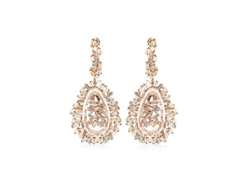 Suzanne Kalan Vitrine earrings mounted on rose gold with champagne diamonds ~ GBP£ 16'713