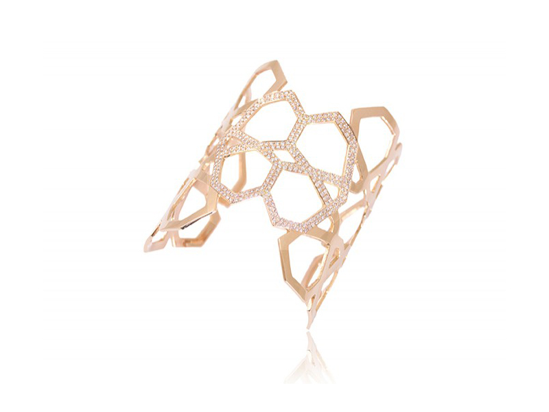 Ralph Masri Cuff from Arabesque deco mounted on rose gold with pink diamonds
