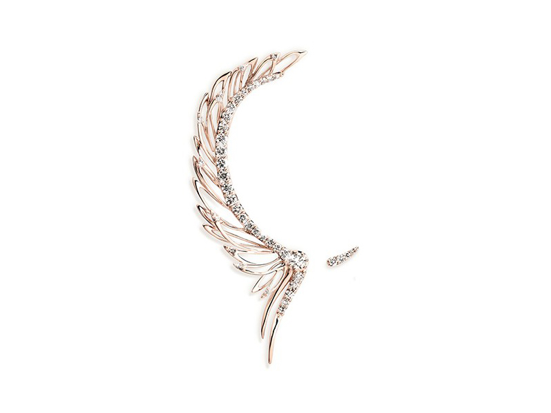 Cristina Ortiz Asymmetric wing ear cuff mounted on rose gold with diamond ~ GBP£ 7'950