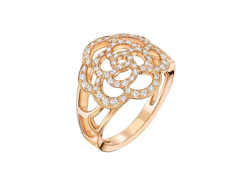 Chanel Camélia ring mounted on rose gold with diamonds ~ GBP£ 3'550