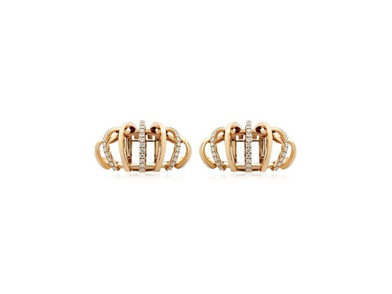 Dauphin 3 strands earrings mounted on rose gold with white diamonds ~ GBP£ 8'695