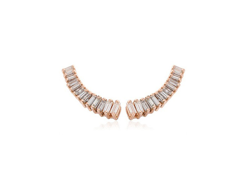 Sarah Noor Baby baguette earrings mounted on rose gold ~ GBP£ 2'772