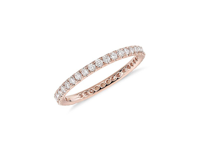 Blue Nile Riviera pavé diamond eternity ring mounted on rose gold