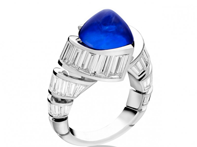 Alexandre Reza Turban ring mounted on platinum with a cabochon blue sapphire and baguette-cut diamonds