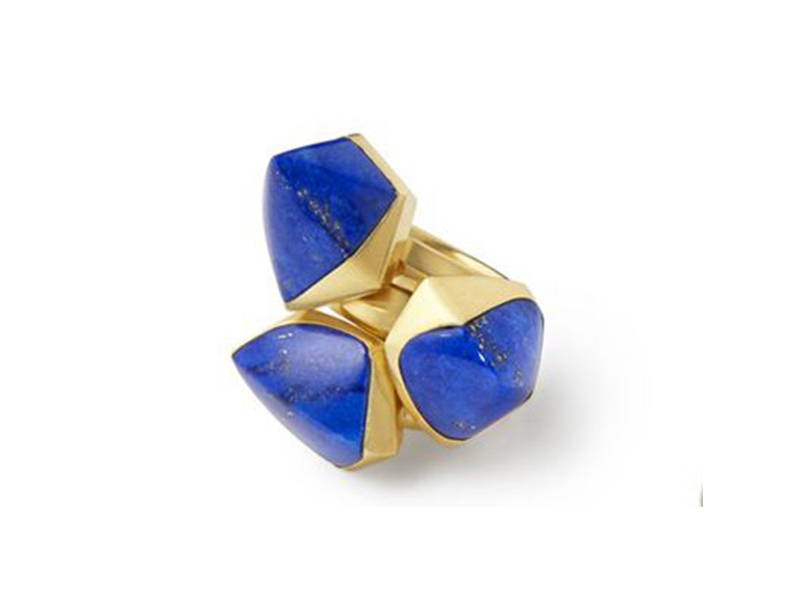 Katherine Jetter Contemporary asymmetrical Lapis rings in 20k yellow gold