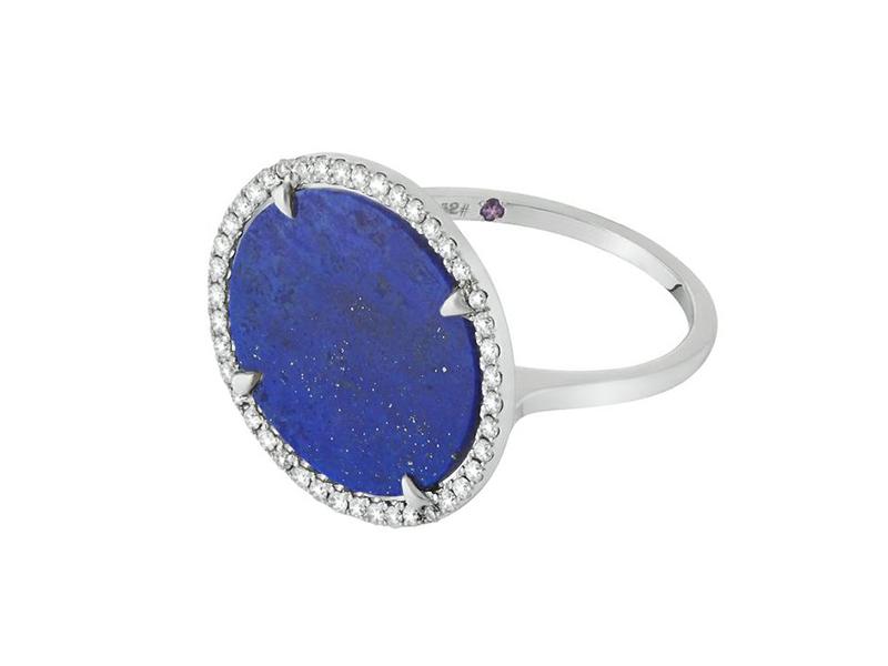 Eternamé Flamenco ring mounted on white gold with white diamonds and lapis lazuli