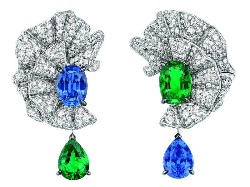 "SOIE DIOR ""VOLANT ÉMERAUDE"" EARRINGS"