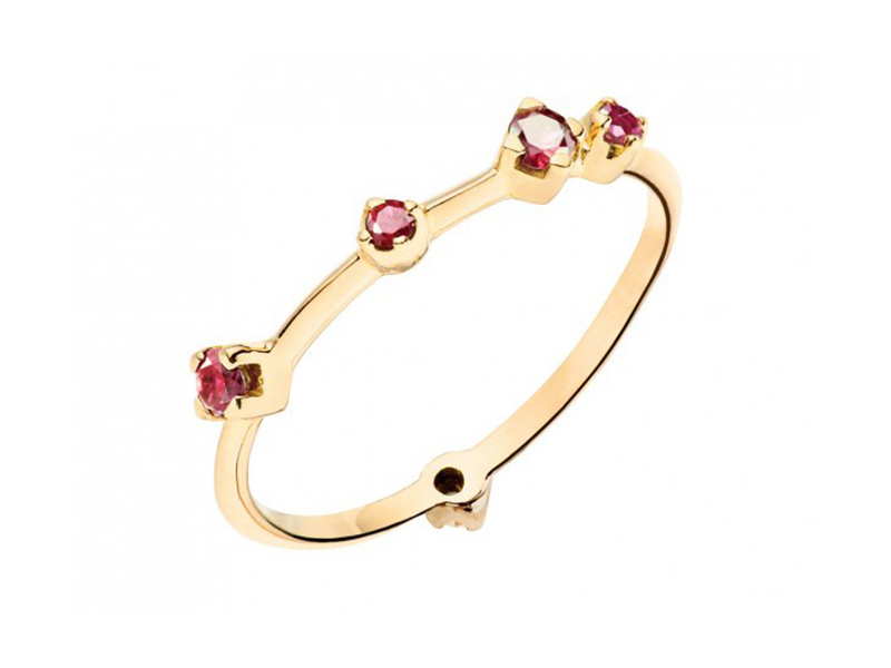 Rivka Nahmias This ring set with 5 stones (ruby and garnet) is available at the Pop Up - CHF 790