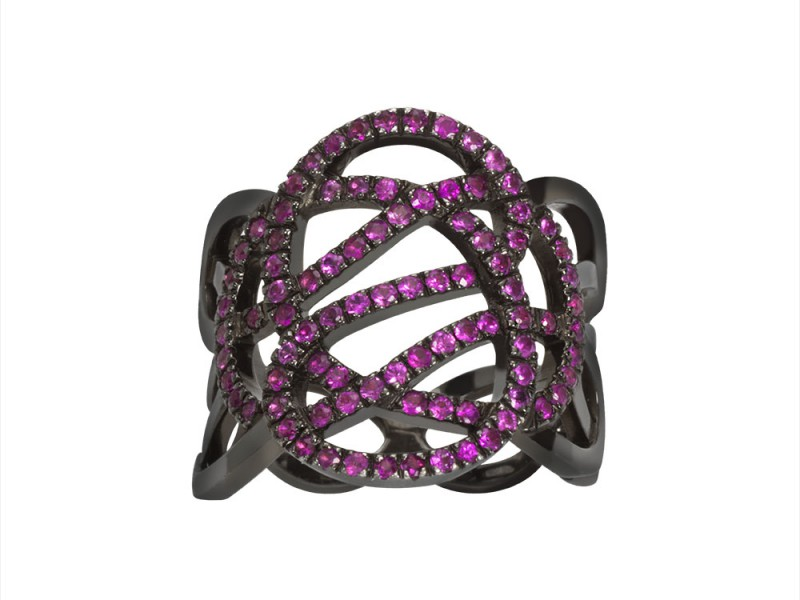 Sophie M This ring from Infini collection mounted on grey gold with pink sapphire (XXL) is available at the Pop Up - CHF 4'590