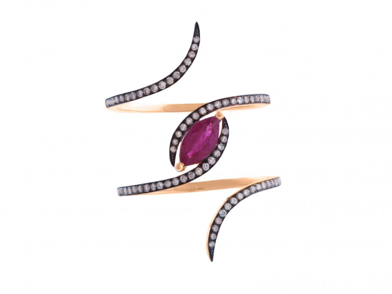Christina Debs This ring from Diamond Tattoo collection mounted on rose gold with brown diamonds and ruby is available at the Pop-Up - CHF 2'020
