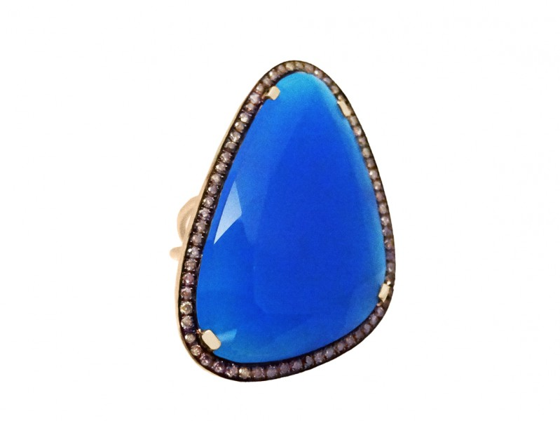 Christina Debs This ring from Hard Candy collection mounted on rose gold with navy blue chalcedony and brown diamonds is available at the Pop-Up, CHF 2'085